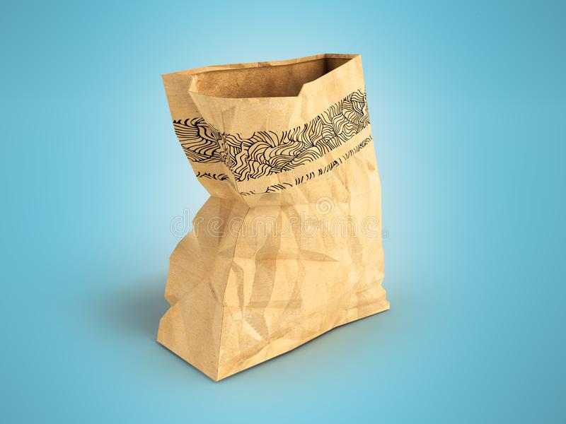 Paper large open package on the left 3d render on a blue background with a shadow. Heavy paper bags of coated paper are suitable for packaging various purchases royalty free illustration