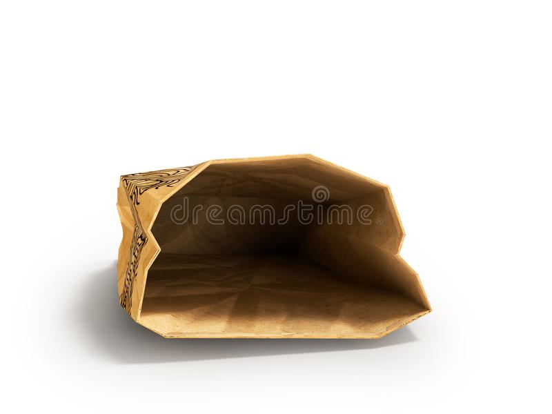 Paper bag lies open front 3d render on white background with shadow. Heavy paper bags of coated paper are suitable for packaging various purchases in stores stock illustration