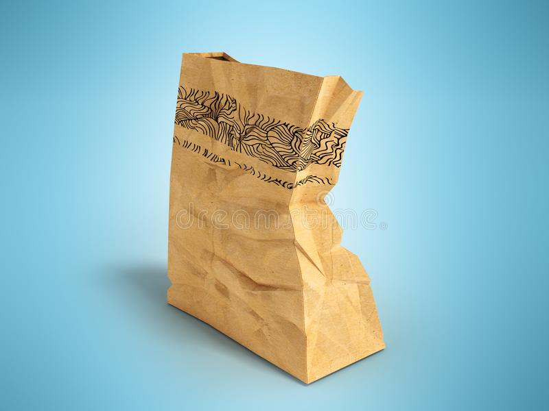 Paper one big packet behind 3d rendering on blue background with. Heavy paper bags of coated paper are suitable for packaging various purchases in stores vector illustration