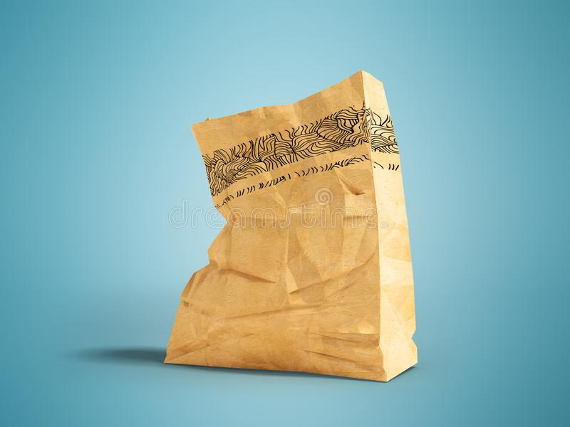 Large paper bag for a supermarket at the bottom left 3d render o. Heavy paper bags of coated paper are suitable for packaging various purchases in stores royalty free illustration