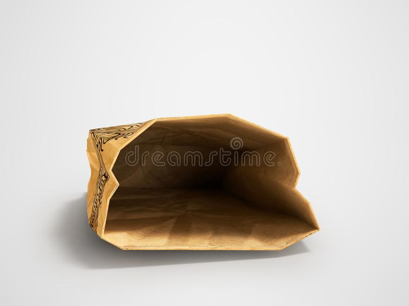 Paper bag lies open front 3d render on gray background with shad. Heavy paper bags of coated paper are suitable for packaging various purchases in stores stock illustration