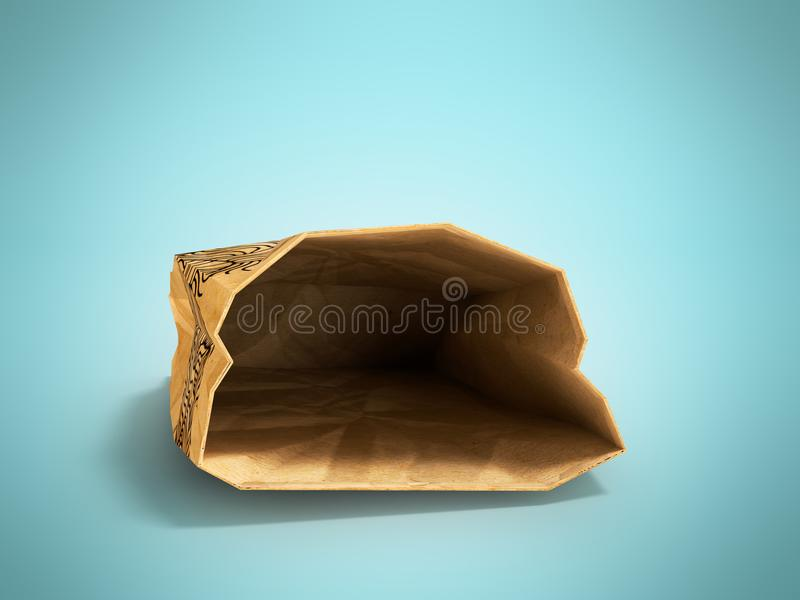 Paper bag lies open front 3d render on blue background with shad. Heavy paper bags of coated paper are suitable for packaging various purchases in stores stock illustration
