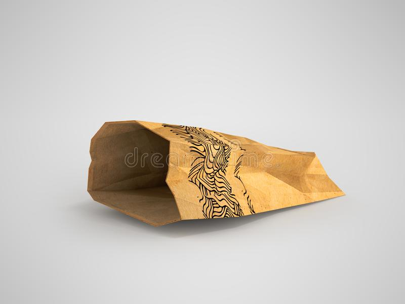 Paper bag lies open on the left 3d render on a gray background w. Heavy paper bags of coated paper are suitable for packaging various purchases in stores vector illustration