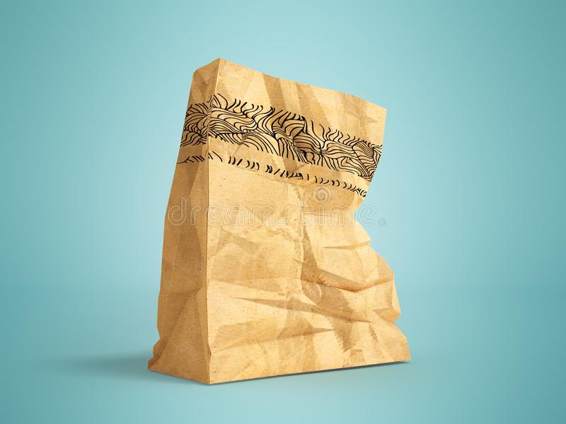Great paper shopping bag for supermarket 3d render on blue background with shadow. Heavy paper bags of coated paper are suitable for packaging various purchases vector illustration