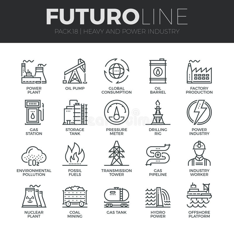 Heavy and Power Industry Futuro Line Icons Set royalty free illustration