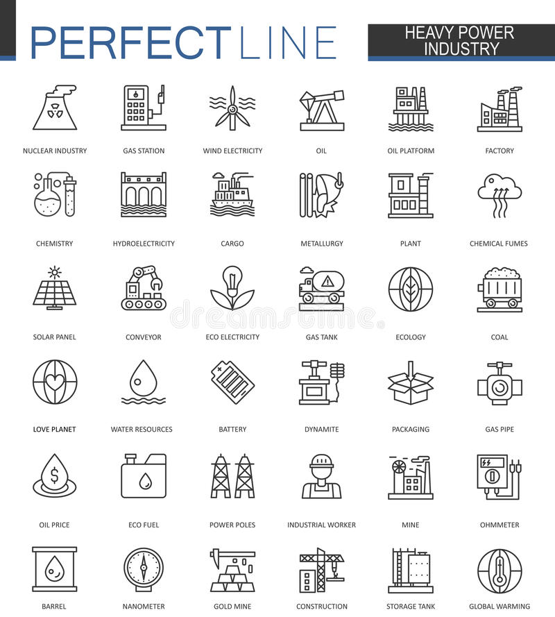 Heavy power industry thin line web icons set. Factory and renewable energy Outline stroke icons design. royalty free illustration