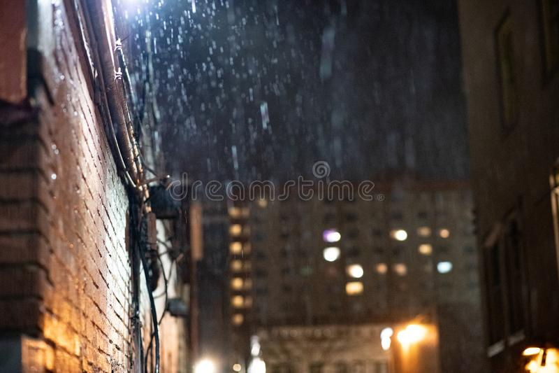 Heavy rain in an alley stock photography