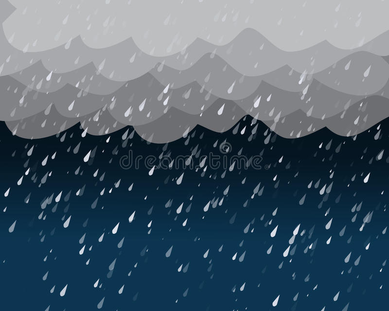 Heavy rain in dark sky, vector. Background royalty free illustration