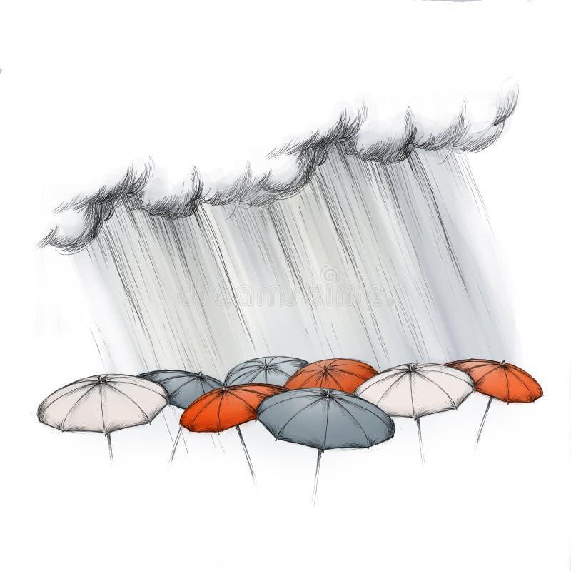 Heavy rain on different umbrellas. Illustration of heavy rain falling on different umbrellas stock illustration