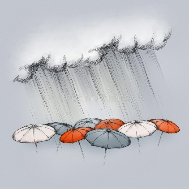 Heavy rain on different umbrellas. Illustration of heavy rain falling on some umbrellas in different colors on a dark grey background vector illustration