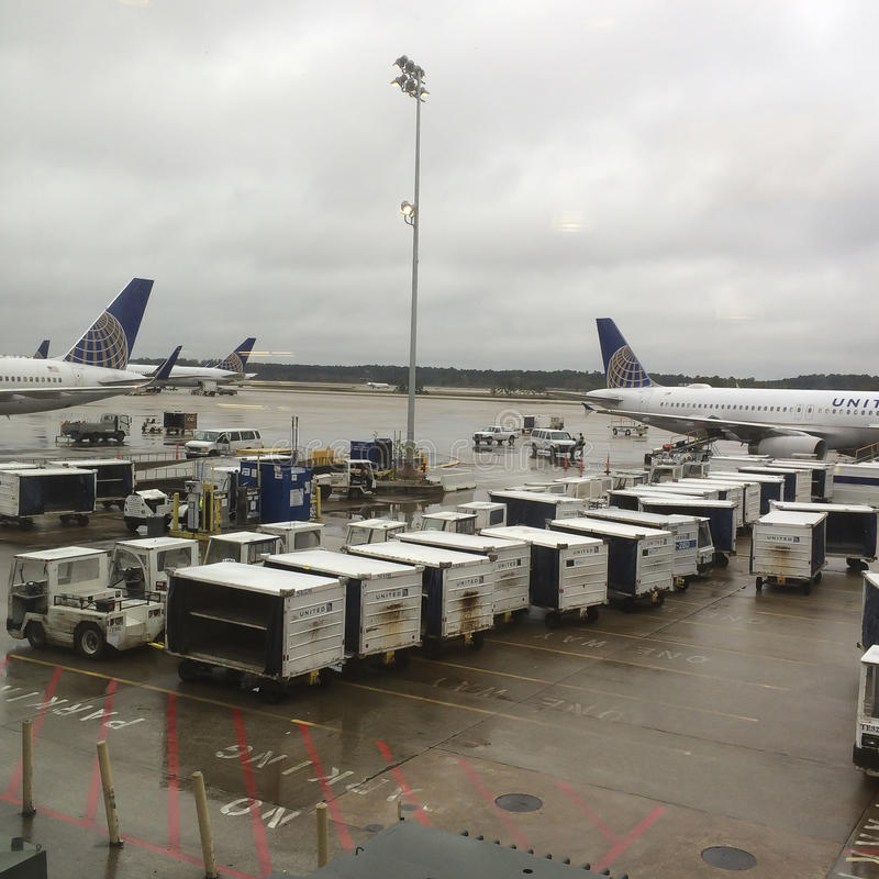 Heavy Rain at the George Bush Intercontinental Airport royalty free stock images