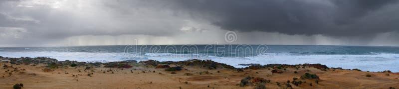 Heavy rain in the horizon stock photo