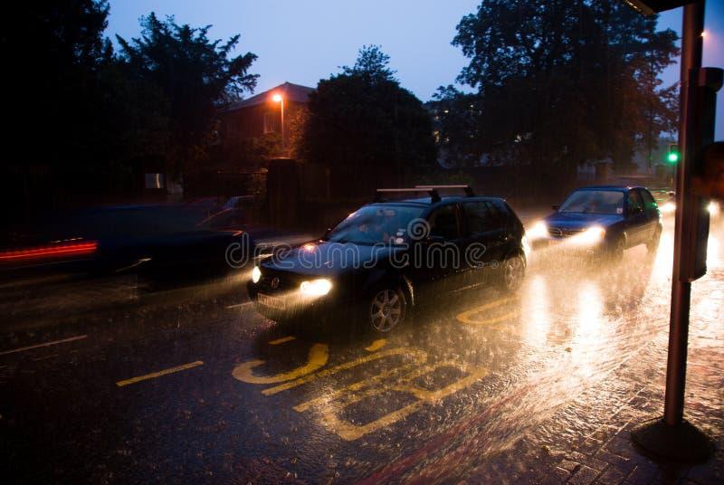 Heavy rain in London stock photo