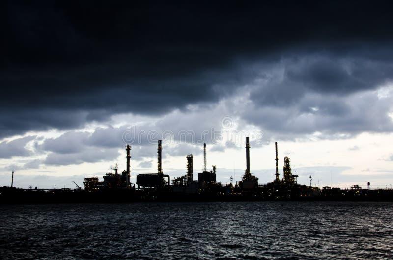 Heavy rain at Oil Refinery. Chao Phraya river, Thailand stock image