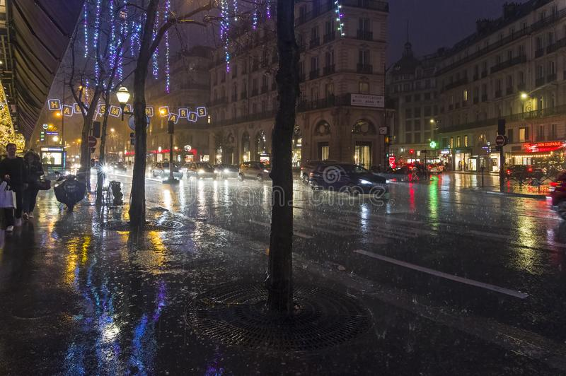 Heavy rain in Paris. stock image