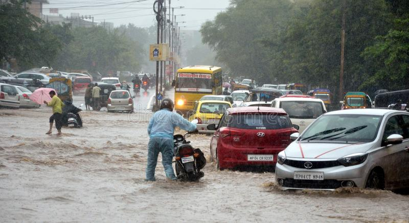 Heavy rainfall in Bhopal stock image
