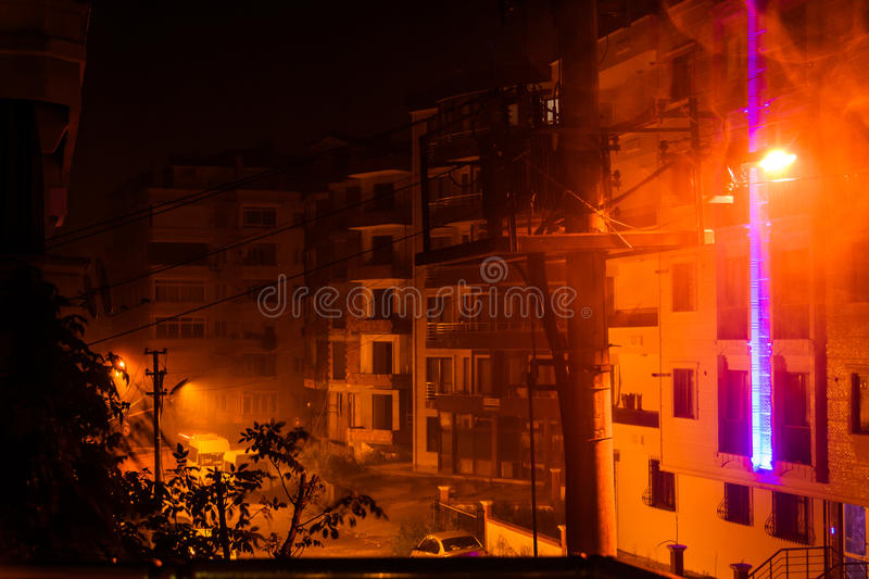 Heavy Rainfall At Night. The infamous heavy rainfall started long after midnight in Marmara region of the country Turkey and caused multiple flash floods around royalty free stock photography