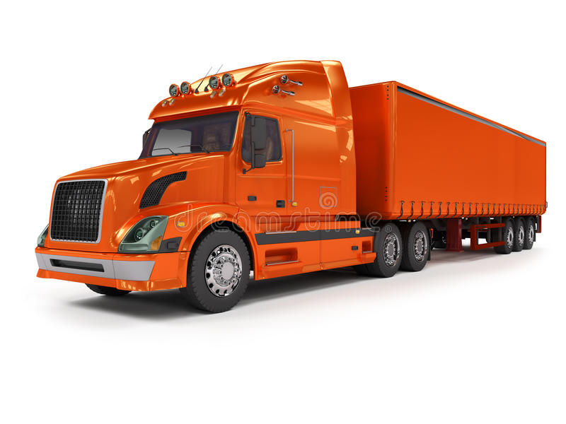 Heavy red truck isolated on white stock illustration
