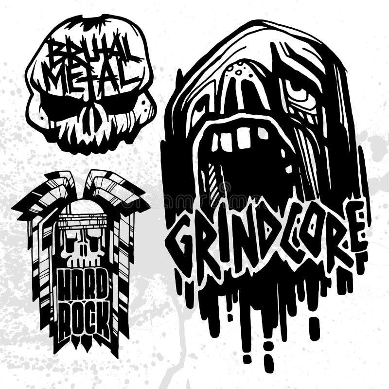 Heavy Rock Music Badge Vector Vintage Labels With Punk Skull Symbols