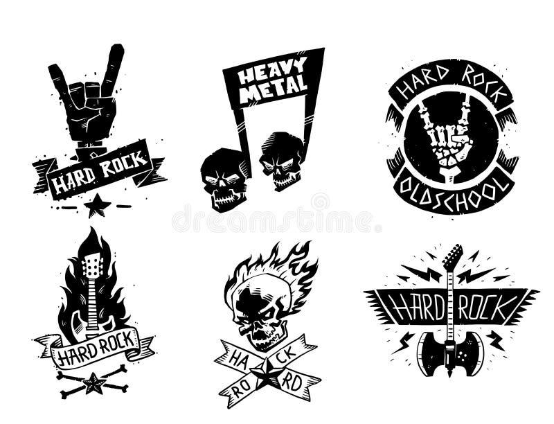 Heavy rock music vector badge vintage label with punk skull symbol hard rock-n-roll sound sticker emblem illustration. Creative recording hipster classic royalty free illustration