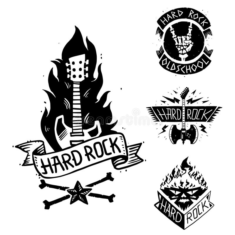 Heavy rock music vector badge vintage label with punk skull symbol hard rock-n-roll sound sticker emblem illustration. Creative recording hipster classic stock illustration