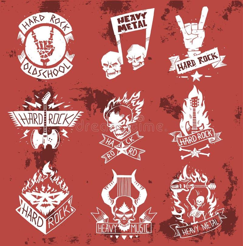 Heavy rock music vector badge vintage label with punk skull symbol hard rock-n-roll sound sticker skull, hand, note. Emblem illustration. Creative recording vector illustration