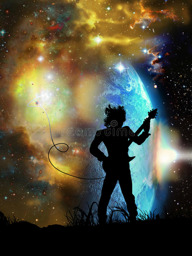 Heavy rock. Silhouette of a rock guitarist playing his music at the foreground of a spatial landscape. His guitar takes its power from the rising stars vector illustration