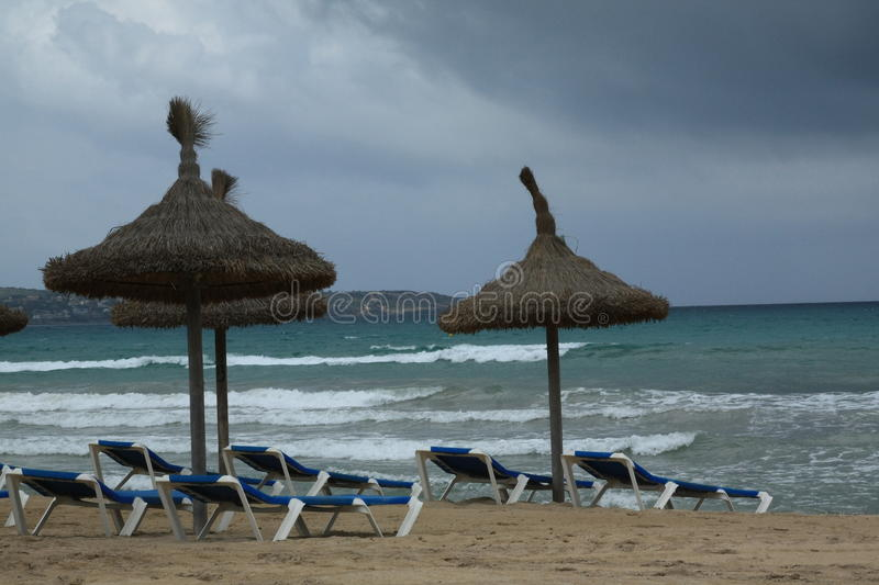Heavy sea. View of the Balearic sea during inclement weather from the city beach. Playa de Palma. Mallorca, Spain royalty free stock photo