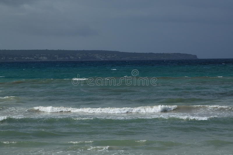Heavy sea. View of the Balearic sea during inclement weather. Playa de Palma. Mallorca, Spain stock photography