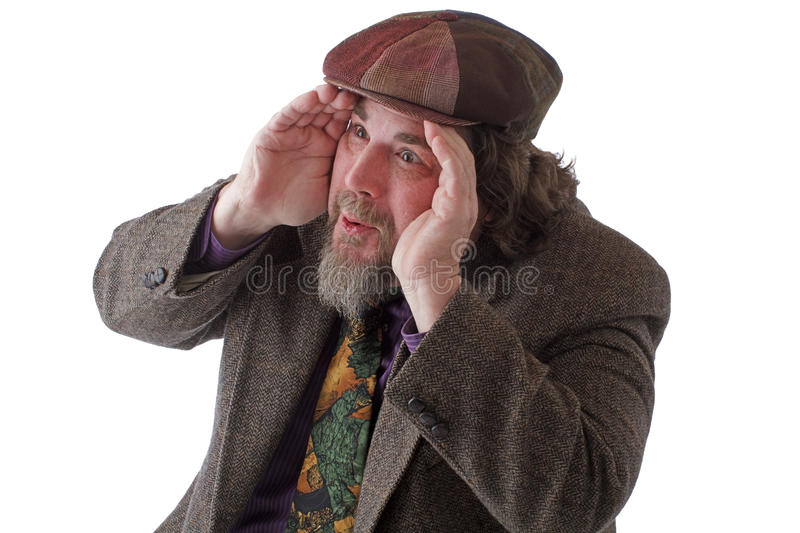 Download Heavy Set Man Looking Out Intently Stock Image - Image: 24329945