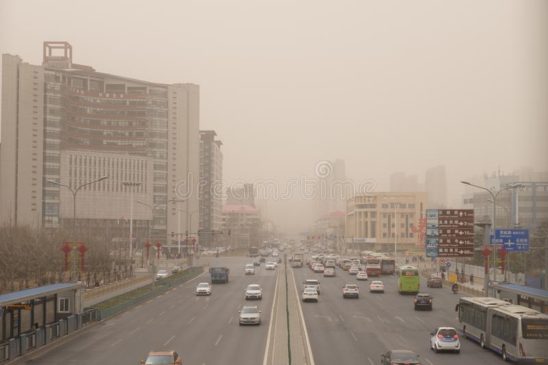 Heavy smog pollution hits Beijing, China. Beijing suffers from severe smog pollution once in a while stock photography
