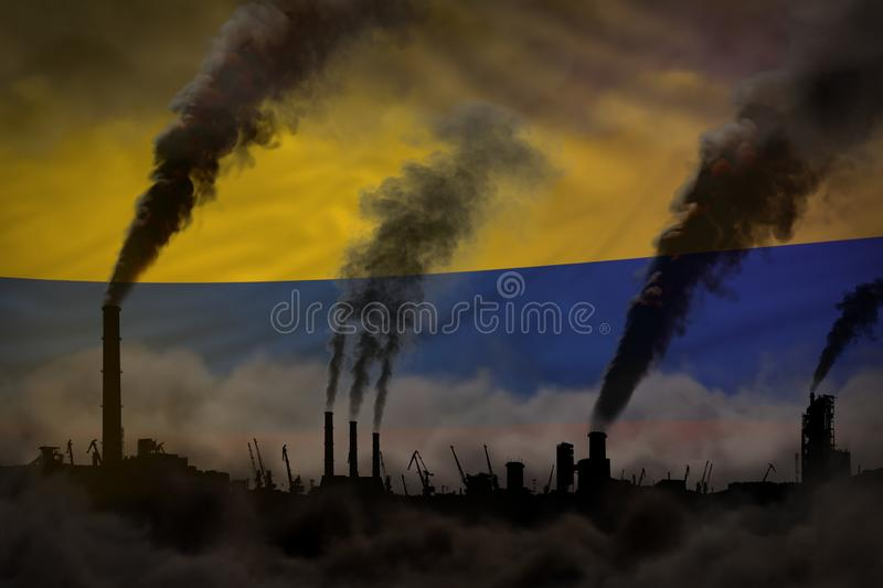 Heavy smoke of industrial pipes on Colombia flag - global warming concept, background with place for your content - industrial 3D vector illustration