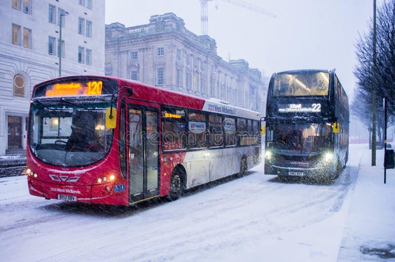 Heavy snow in Birmingham, United Kingdom royalty free stock photos