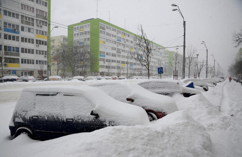 Download Heavy snow in Bucharest editorial stock image. Image of cover - 37144509