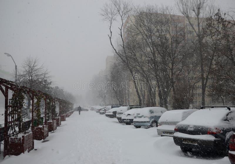 Heavy Snow In Bucharest Editorial Stock Photo