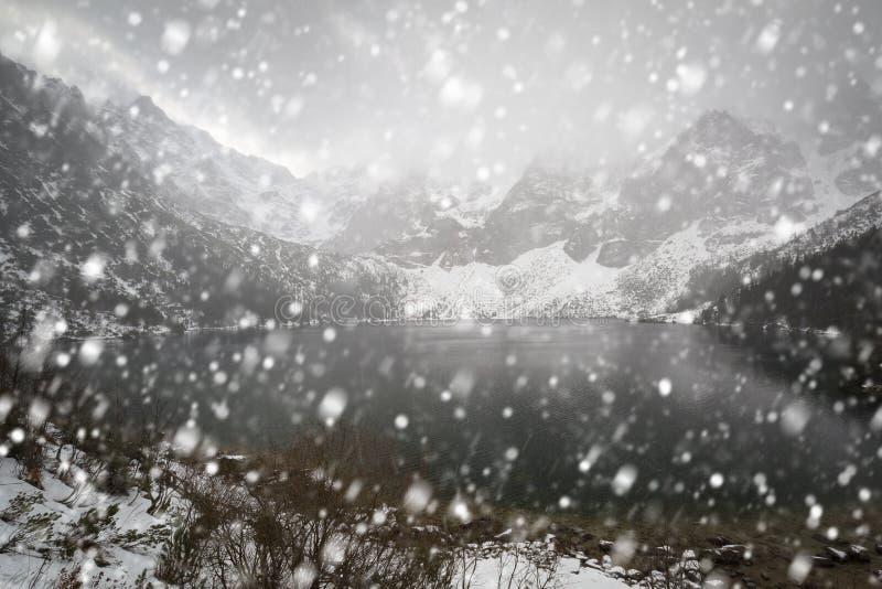 Heavy snowfall at Eye of the Sea lake in Tatra mountains. Poland royalty free stock image