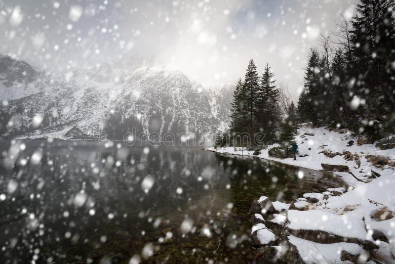 Heavy snowfall at Eye of the Sea lake in Tatra mountains. Poland stock image