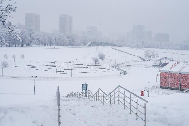 Heavy snowfall in the park royalty free stock photos