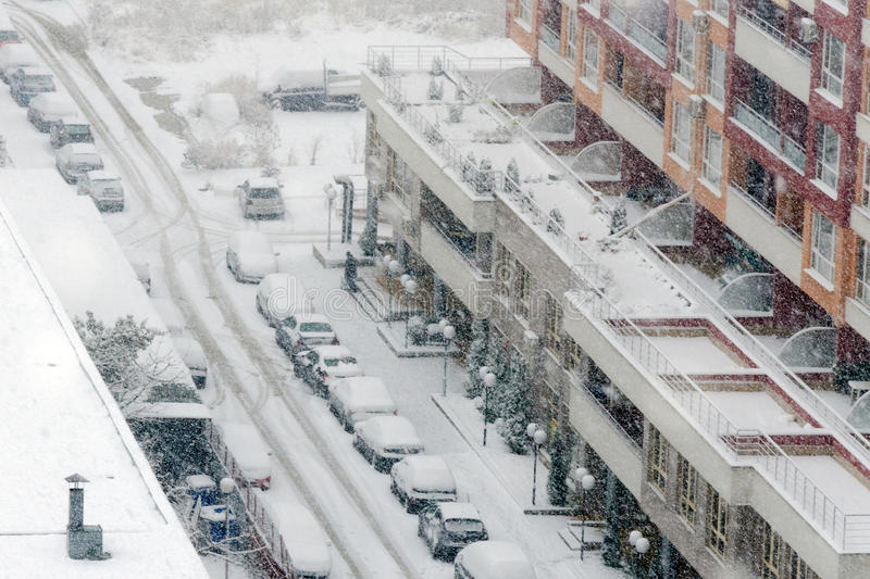 Heavy snowfall or snowstorm. Aerial view of residential area during heavy snowfall in Sofia, Bulgaria royalty free stock photo