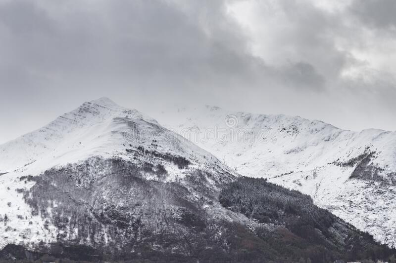 Heavy snows cover the mountains in the Glencoe area, Scottish Highlands, UK stock photo