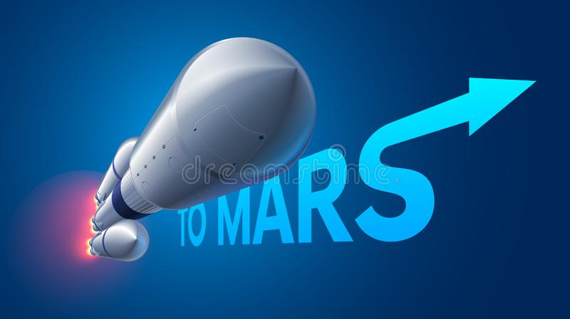 Heavy space rocket launch to Mars. Mission to Mars vector illustration