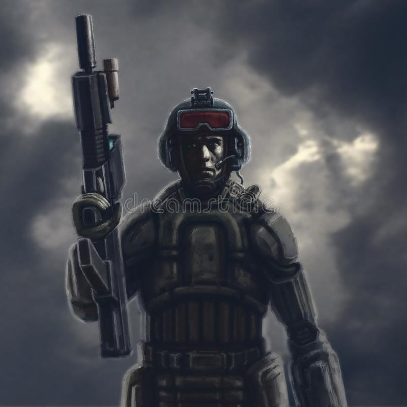 Heavy space trooper with a rifle. stock photography