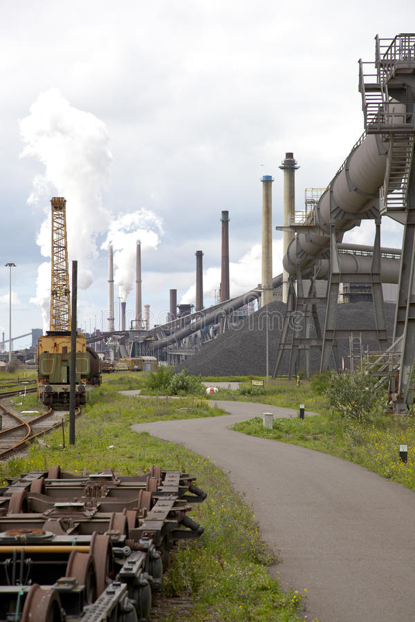 Heavy steel industry. At steel factory royalty free stock image