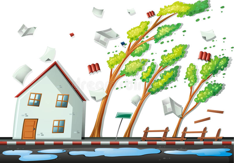 Heavy storm in the city. Illustration royalty free illustration