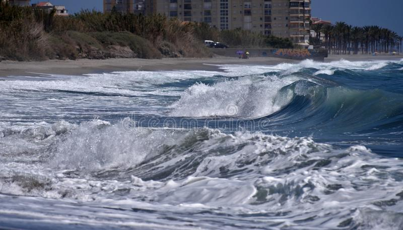 Surf on the beach in Spain. royalty free stock images
