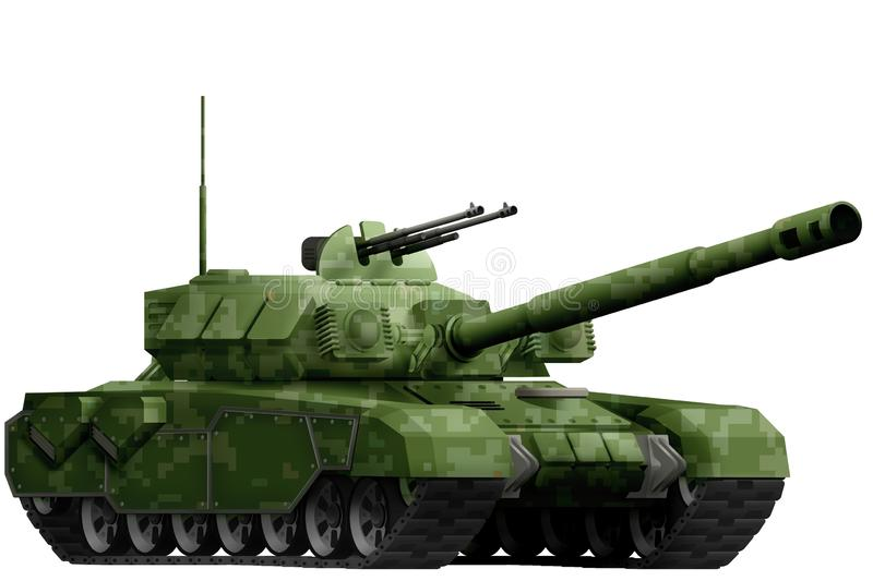 Heavy tank with pixel forest camouflage with fictional design - isolated object on white background. 3d illustration stock illustration