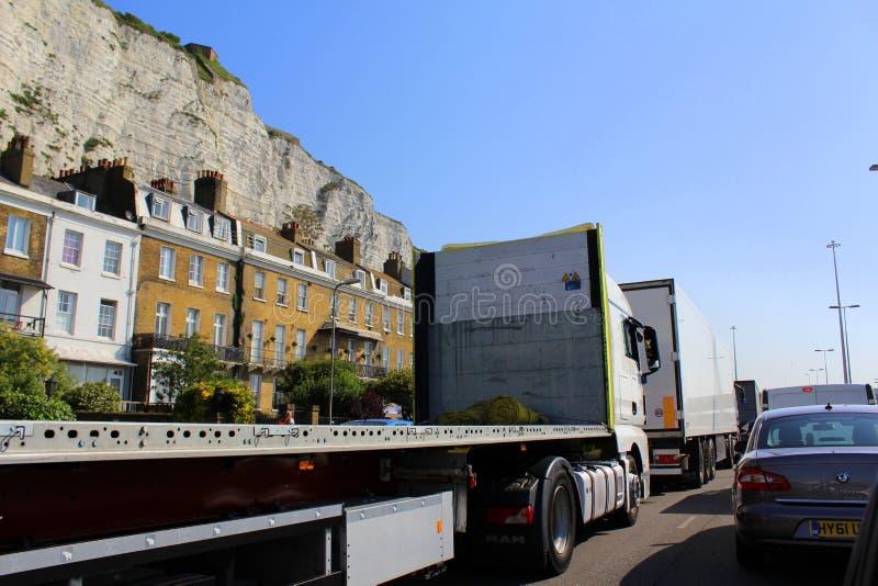 Heavy traffic Dover road UK royalty free stock photography