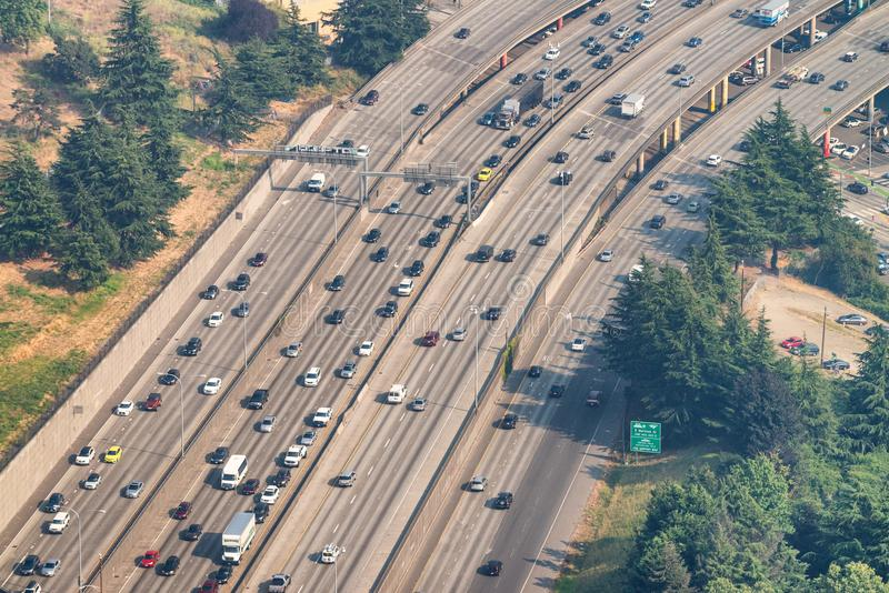Heavy traffic on the highway, aerial view royalty free stock photos