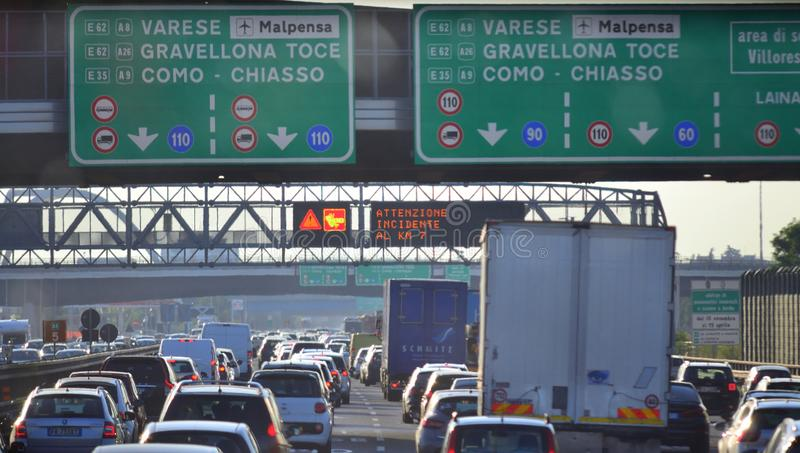 Heavy traffic on Italian highway stock image