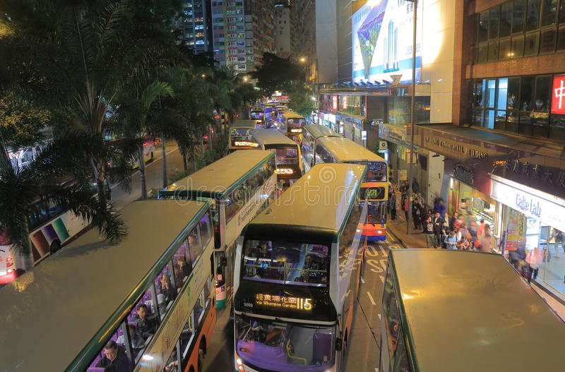 Heavy traffic jam Hong Kong downtown. stock images